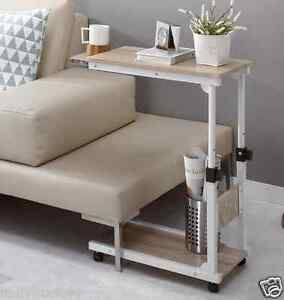 Height adjustable bedside caster table diy multi use for Divan overbed table
