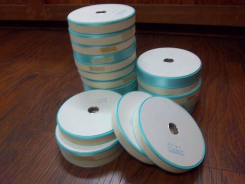 LOT OF 20Scher Fabrics TURQUOISE SATIN RIBBON, 1 INCH WIDE, 106YARD ROLLS