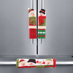 Details About Dcp 5 5x9 1 Christmas Handle Covers Set For Refrigerator Oven Snowman Decoration
