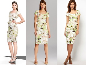 New Karen Millen floral print fitted peplum shift wedding party dress US 6