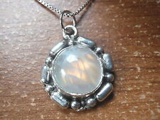 Round Moonstone with Unique Accents 925 Sterling Silver Necklace