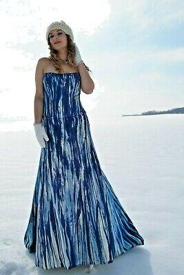 Monique Lhuillier Silk Bohemian Wedding Dress Formal Gown Blue White Navy 6 8 10 Ebay