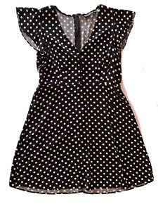 Dangerfield-Size-14-Dress-Fit-amp-Flare-Polka-Dot-Black-White-V-Neck-Ruffle-Sleeve