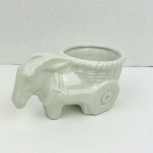 Vintage White Ceramic Donkey with Basket Cart Planter