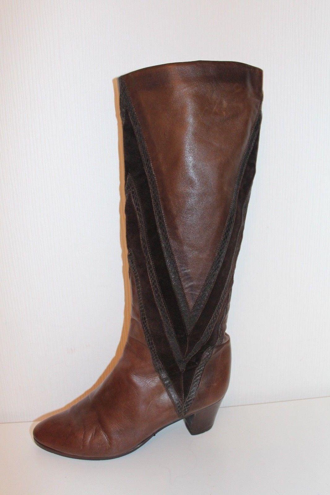 80er 80s Vintage true VTG ECHT Leder Slouch STIEFEL 37 Leather Stiefel UK 4 braun  | Schön