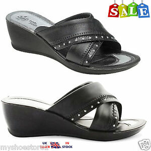 Neuf Femmes Femmes Compensé différents Chaussures Casual//Formal Comfy Cour Chaussures UK