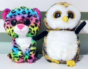 Lot-of-2x-TY-Beanie-Boos-Dotty-the-Leopard-amp-Owliver-the-Owl-15cm-Tall