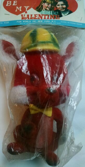 Vintage Valentine Flocked Mouse Gift Fun World Inc Red