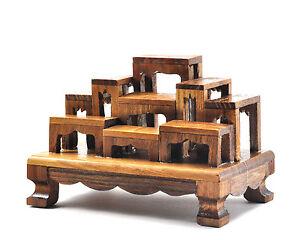 SET of 9 mini Altar Teak wood Tables worship Thai Buddha Buddhist ...