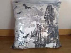"Noir Night Halloween Haunted House Bats B&W Fringe Throw Pillow 22"" x 22"""