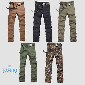 Mens-Cargo-Pants-Casual-Slim-Fit-Combat-Trouser-Camouflage-Army-Denim-Jeans-Pant