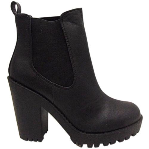 NEUF SANDALES FEMME MI TALON BOTTIER HAUT plateforme chelsea bottines chaussure cleated