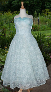 6c9dbc47a6e Vintage Prom Dress 1950 s Strapless Bombshell Light BlueTulle Lace ...
