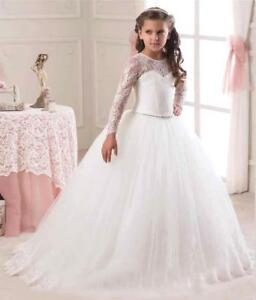 67fcece61 New Cute White Princess Wedding Girls Dress Tulle Bridesmaid Party ...