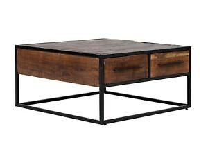 Couchtisch 80x80 Tisch Metall Massiv Holz Akazie Braun Mobel