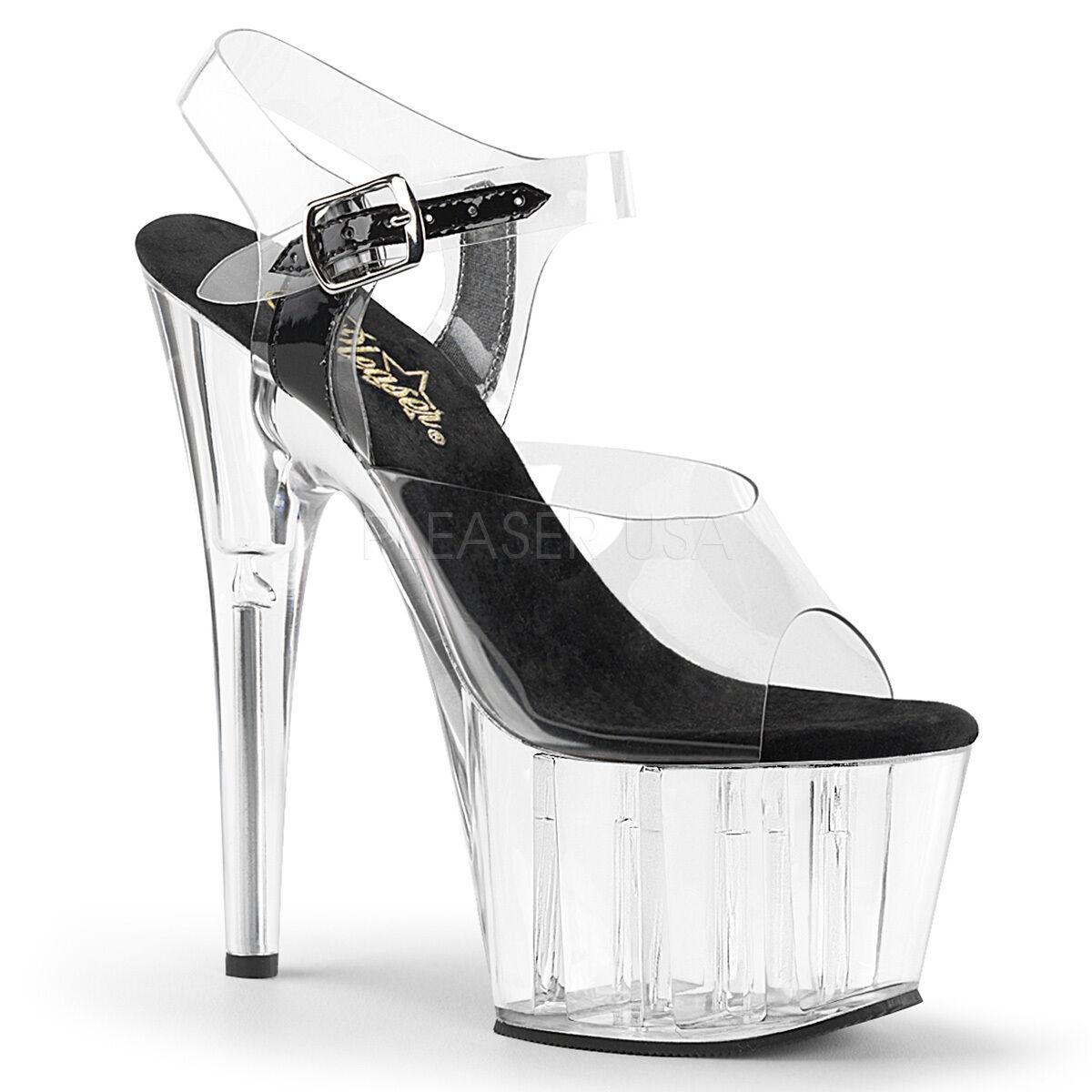Pleaser Adore-708 Schuhes Platform Strap Sandales Stilettos High Heels Ankle Strap Platform Clear 096f7f