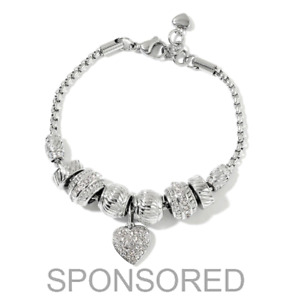 Crystal Stainless Steel Love Heart Charm Bracelet Bangle Jewelry for Women 7-8''