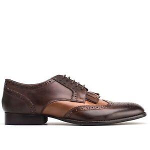 Base-London-BARTLEY-Richelieu-a-Homme-en-Cuir-Lustre-A-Lacets-Formel-Chaussures-Tan-Cacao