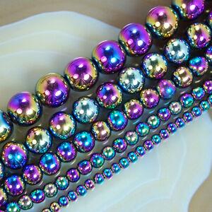 """Rainbow Hematite Round Beads 15.5""""  3mm 4mm 6mm 8mm 10mm"""