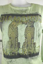 Apriori Langarmshirt 38 in Pistazie 2 Leoparden Strass Top Baumwolle  neu