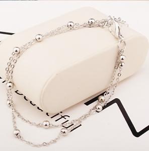 Damen Armband Silber Kugeln Fußkettchen Armkette Armschmuck Fußkette Schmuck Neu Seien Sie Freundlich Im Gebrauch