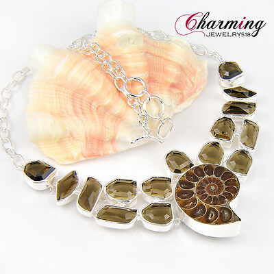 Holiday Gift Natural Handmade Ammonite Fossil Smoky Quartz Gems Silver Necklace