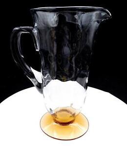 FENTON-ART-GLASS-RARE-5093-CLEAR-48-OZ-OPTIC-LOOP-AMBER-FOOTED-9-3-4-034-JUG-1931