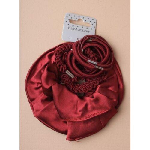 Burgundy Pack of 2 Hair  Scrunchies and 8 Elastics School Dance Gym Hair Styling
