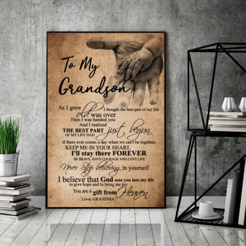 Grandma To My Grandson You Are A Gift From Heaven Poster 12-48/'/' No Frame