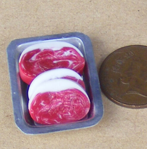 1:12 Scale Rib Eye Steaks On A Metal Tray Tumdee Dolls House Miniature Butcher