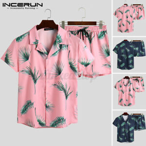 INCERUN-Men-039-s-Hawaiian-Beach-Suit-Printed-Short-Suit-Party-Fancy-Hippie-Chic-Set