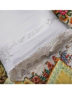 Victorian Trading Co Sweet Milk Manor Cotton Crochet Lace Trim Sheet Set Full