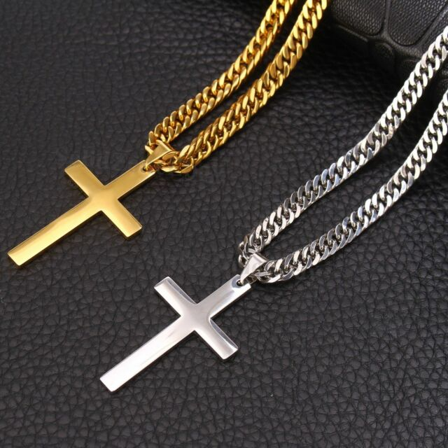 Mens Womens Stainless Steel Curb Chain Necklace Cross Pendant Silver Gold Black