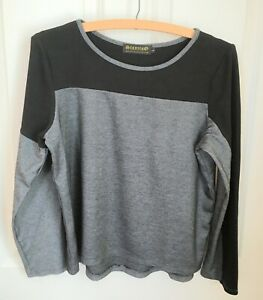 Stanzino-Large-HiLo-Black-White-Striped-T-shirt-High-Low-Hem-Long-Sleeve-Stretch