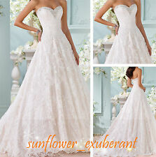 Custom Wedding Dress Gowns Bridal Aline Strapless Sweetheart Button Ball Formal