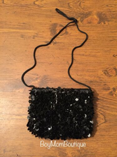 Black Sequined Cross-body Evening Bag - Elegant Co