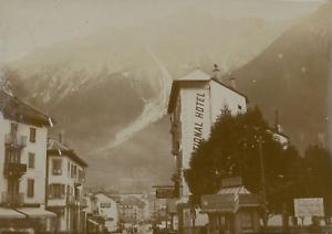 France-Chamonix-Hotel-et-vue-sur-les-montagnes-ca-1900-Vintage-citrate-print