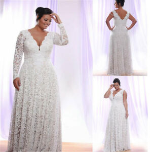 Details about Plus Size Full Lace Wedding Dresses With Removable Long  Sleeves A Line Gowns