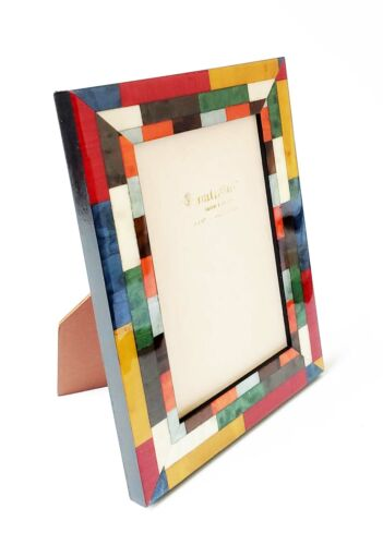 Natalini Mira Rosso//B//G Photo Frame Multicolor Wood Parquetry Handmade Italy 4x6
