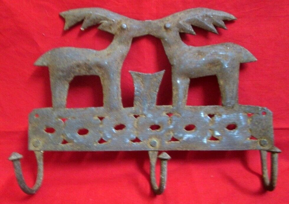 Collectible Wall Iron Hangers Antique Hand Carved Royal Stag Pair   Couple