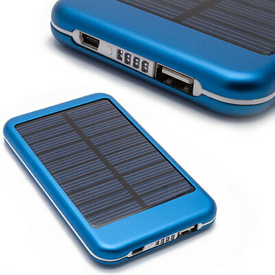 Blue 5000mAh External Battery Power Bank Solar Power Charger for PDA MID Mobile