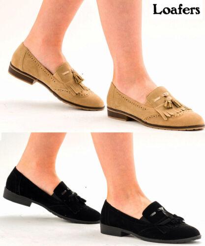 Womens Ladies Slip On Pumps Fringe Faux Suede Low Heels Sneaker Loafers Shoes
