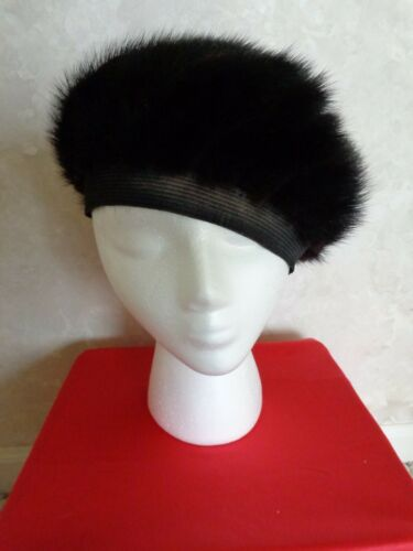 Vtg. Sears Black Mink Full Size Hat, labeled Sears