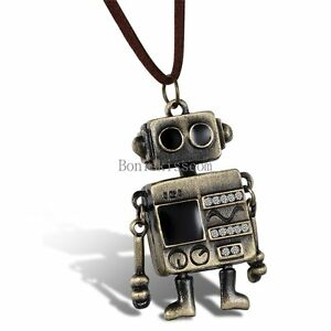 Mens-Bronze-Tone-Robot-Pendant-Necklace-w-Brown-Leather-Adjustable-Cord-Chain
