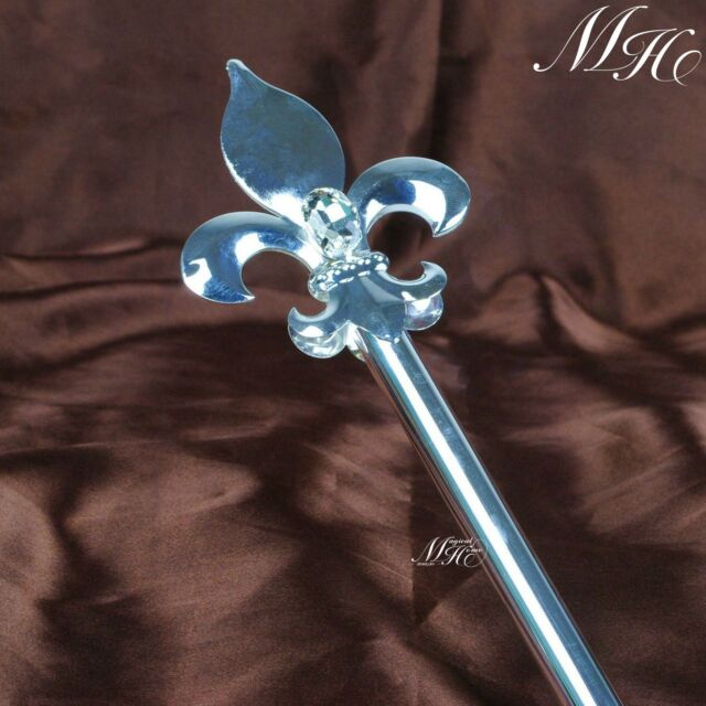 Silver King Scepter Wand Imperial Medieval Sceptre Party Costumes Handheld Props