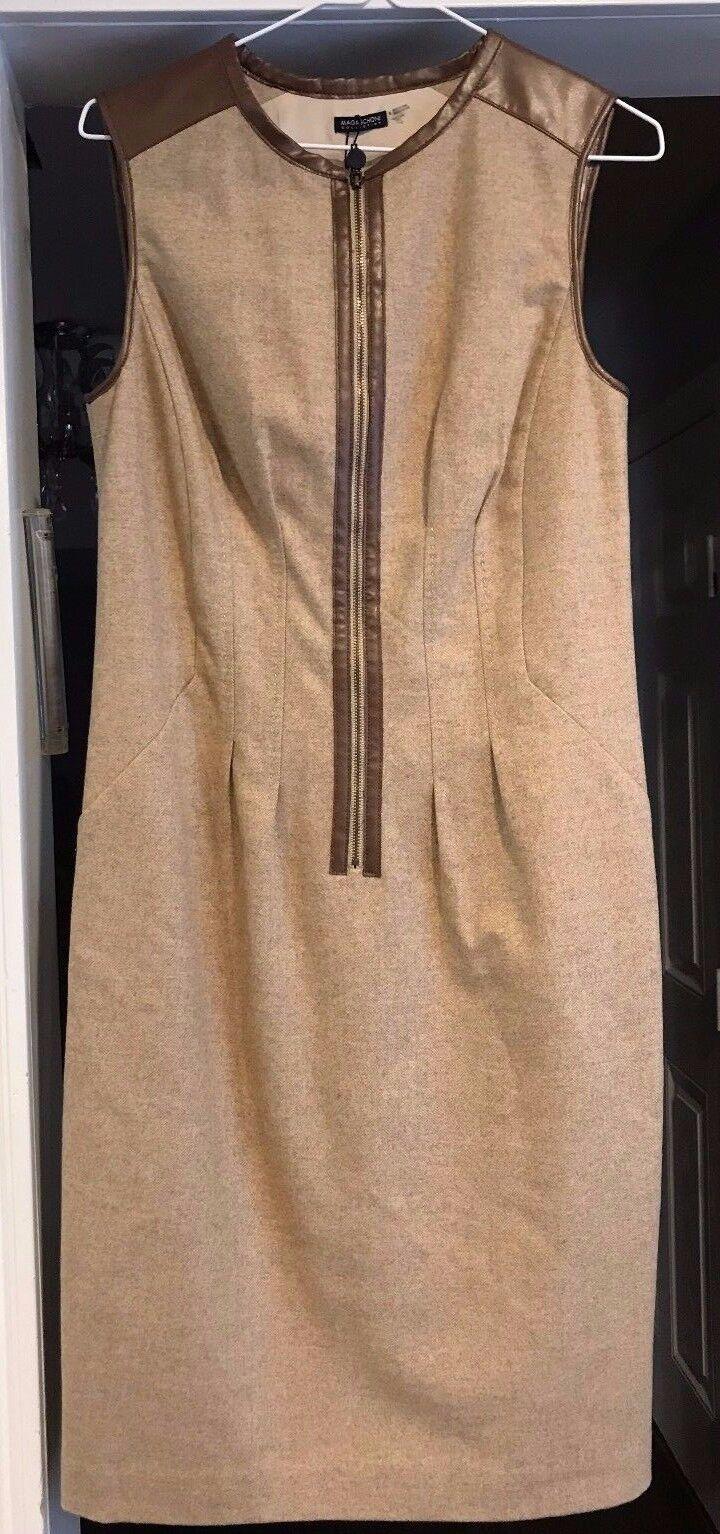 Magaschoni Woherren Tan Wool and Leather Sleeveless Dress Größe 8 NWT