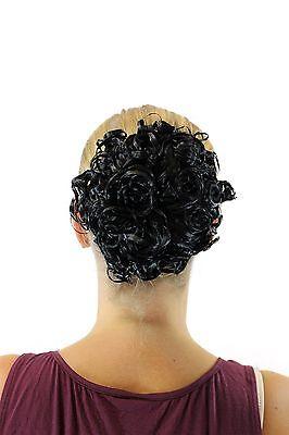 Wig Me Up jl-603-2 Black Roses Hair Piece Bun Knot of Hair Costume curls Black