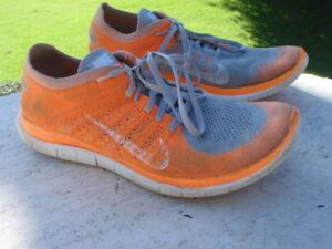 Details about Nike Free Flyknit 4.0 Wolf Grey Hyper Crimson Orange white 11 EU 45 631053 008