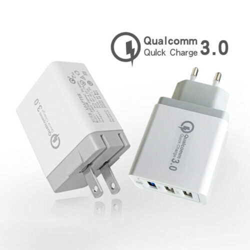 30W Qualcomm USB Wall Charger 3-Port USB Fast Travel Adapter for iPhone X/8/7