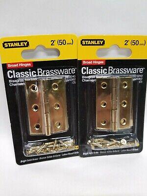 """NEW STANLEY 803240 PK 2 BRIGHT BRASS 2/"""" CABINET BROAD DOOR HINGES 6793533"""